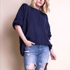Vintage 80s blue draped oversized crewneck sweater